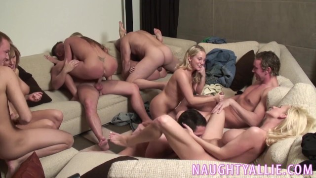 Naught allie fucks - Party game leads to a huge orgy
