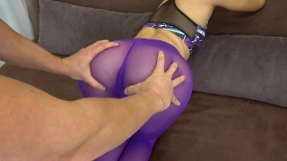 My girlfriend got creampie in her pussy in ripped yoga pants POV Boobs english
