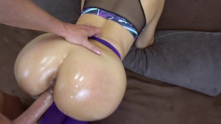 My girlfriend got creampie in her pussy in ripped yoga pants POV