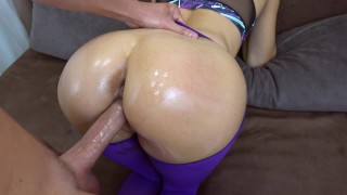 My girlfriend got creampie in her pussy in ripped yoga pants POV Mother mom