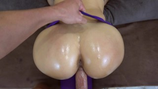 My girlfriend got creampie in her pussy in ripped yoga pants POV porno