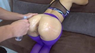 My girlfriend got creampie in her pussy in ripped yoga pants POV Doggy 3some