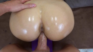 My girlfriend got creampie in her pussy in ripped yoga pants POV Landlord cock