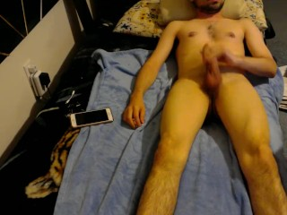 Guy masturbating and cumming