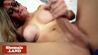 Kinky busty trans wanks her hard cock solo