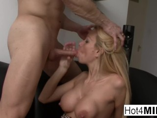 Hot Hungarian MILF gets cum on her big tits