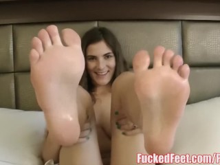 Molly Jane Oils Up Feet to Give Amazing Footjob @ FuckedFeet!