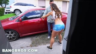BANGBROS - Big Booty Latina Kelsi Monroe's Reverse Bang Bus Part 3 Blowjob soaking