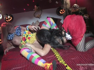 Hardcore Halloween Fuck with Sheena Ryder and Leya Falcon