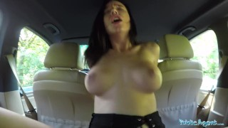 Public car tourist agent gets sexy orgasms multiple in big cum