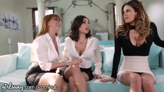 Lesbian Boss Makes Employees Prove they Like Girls! Blowjob pussy