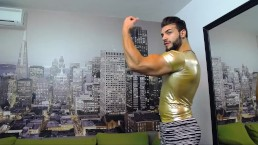 Raz Muscle flexing in tight cloths