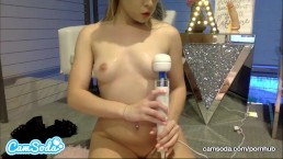 Aubrey Sinclair big tits blonde rubbing wet pussy with dildo.