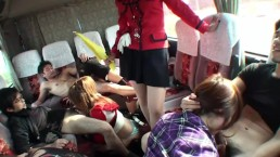 Super Horny Asians Doing Dirty Orgy On A Bus!