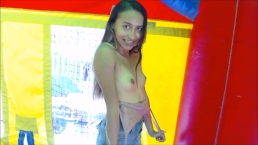 Teen cammodel fucks her holes in a Bouncy House