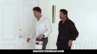 Dads daughterswap by their daughters for treat a tricked teens costumes