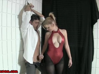 Do Anything to Cum - Castratrix Ballbuster at Work in Pantyhose