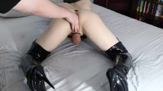 Femboi fingered to orgasam by Daddy Rimming licking