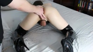 Orgasam fingered daddy to by femboi crossdress femboy