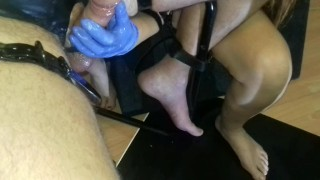 Femdom Bondage Cock Massage and Anal Sexmachine  ass fuck latex gloves pvc wrapped handjob torture anal play femdom milking slave bdsm amateur pip cum bondage orgasm prostate orgasm kink anal chair tied handjob milking