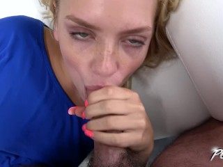 Fucking a pregnant pussy young sweet blondie first time suck big cock & spread legs for him povb