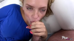 Young sweet blondie first time suck big cock & spread legs for him