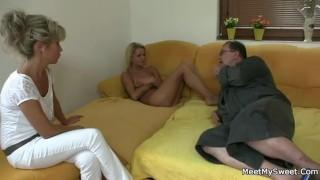 Naughty parents seduce and fuck son's girlfriend porno