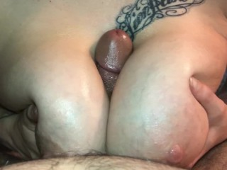 The Naked Nerd makes a big dick cum with her huge oiled up titties