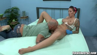 Emily Parker sexy tattoo artist takes care of a fat boner