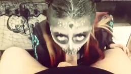 Sexy halloween skull POV blowjob