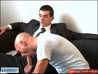 Guillaume suited Hetero guy's big cock to suck in spite of him.