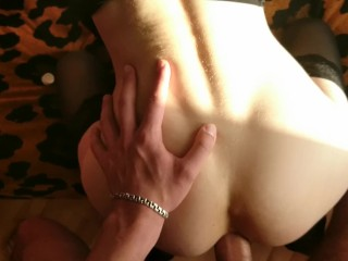 Crazy about his huge cock: POV sloppy blowjob, POV deep hard fast anal