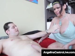 Cuban Queen Of BBW Angelina Castro Steals Sara Jay's Cock!