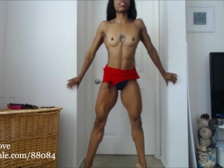 Ripped girl flexing it all