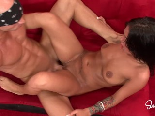 Angelina Valentine gets pounded by huge cock and takes huge cum facial!