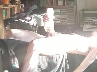 Livingroom Fleshlight with Roommate Upstairs