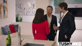 TUSHY Lana Rhoades FIRST DOUBLE PENETRATION Japanese mom