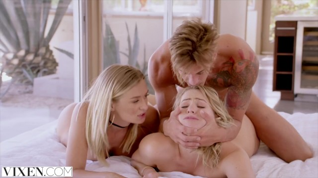 Women throating huge cock Vixen mia malkova and natalia starr share a huge cock
