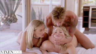 VIXEN Mia Malkova and Natalia Starr share a HUGE cock!! Riding blonde