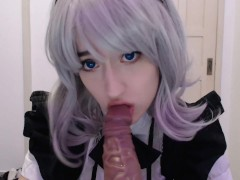 Maid cosplay girl sucking and begging to her boss