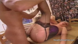 Black guy drilling two white blonde women in ass and pussy
