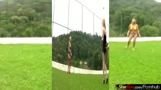 Four play and blonde strip chicks down dicks with volleyball blonde big