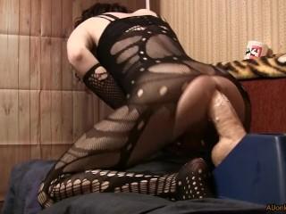 Sissy anal dildoing, a huge dildo