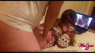 Horny Stepsister fucked while watching Lesbian Porn on Pornhub ( Creampie )  big ass point of view homemade teen amateur pov young stepsister teenager doggystyle perfect ass big butt pornhub watching lesbians watching porn