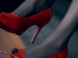 Red High Heel Open Toe Shoes and Pantyhose Fun