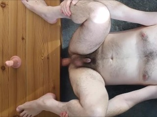 Straight sexy guy ass-fucked deep on stone floor - best view dildo play a2m