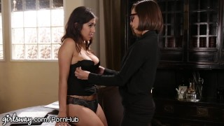 April O'Neil Punished by Lesbian Boss for Slutty Dress Women girl