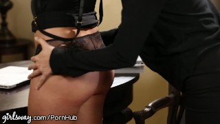 April O'Neil Punished by Lesbian Boss for Slutty Dress Cowgirl tenant