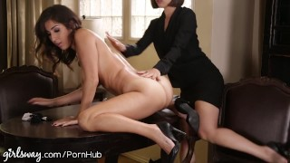 April O'Neil Punished by Lesbian Boss for Slutty Dress Public outside