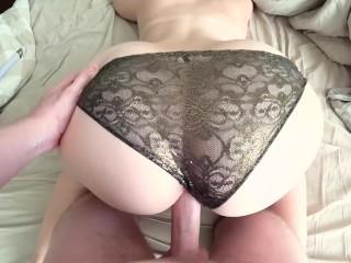 Young girl with big ass fucked through panties
